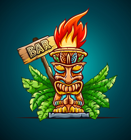 Banner with Tiki ethnic traditional tribal mask. Totem symbol with human face from hawaiian culture in green palm jungle leaves. Cocktail bar sign design. Eps10 vector illustration. Illustration