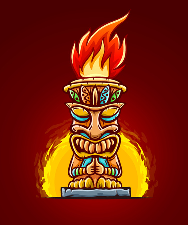Tiki traditional hawaiian tribal mask with human face with flame of burning fire of torch. Wooden totem symbol, god from ancient culture of Hawaii. Hand drawn in cartoon style on red background. Eps10 vector illustration.