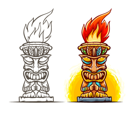 Tiki traditional hawaiian tribal mask with human face and burning fire. Wooden totem symbol, god from ancient culture of Hawaii. Hand drawn in cartoon style, isolated on white background. Eps10 vector illustration. Illustration