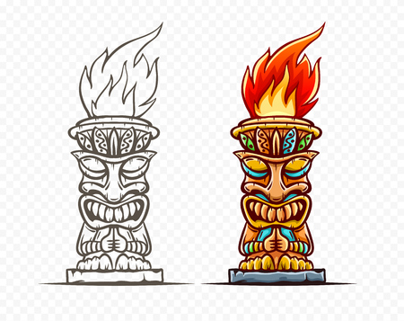 Tiki traditional hawaiian tribal mask with human face and burning fire. Wooden totem symbol, god from ancient culture of Hawaii. Hand drawn in cartoon style, isolated on transparent grid background. Eps10 vector illustration.