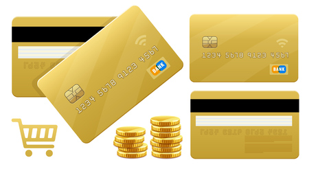 Banking gold credt cards for purchases in store with golden credit card. Processing payments e-commerce online shopping. Isolated on white background. Eps10 vector illustration.