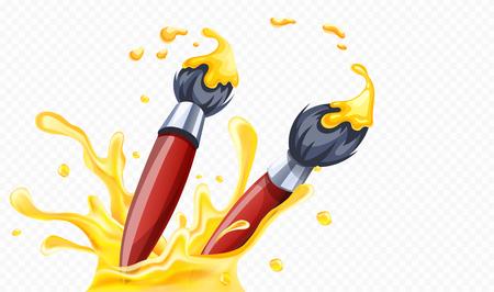 Kunstpinsel zum Zeichnen mit gelber Farbe, Spritzen mit Spray und Tropfen. Auf transparentem Hintergrund isoliert. Eps10-Vektor-Illustration.