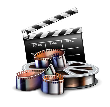 Online-Kinokunst-Filmplakatdesign mit Filmproduktionsklappe des Regisseurs und Filmstreifen-Rollenbandsymbol. Kinematographie-Konzept. Vektor-Illustration.