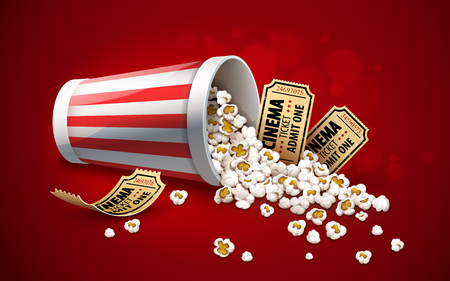 Popcorn poured from paper bucket. Full cup for snacks in movie theater fast food. Gold cinema tickets for film entertainment. Realistic, on red background with bokeh. Eps10 vector illustration.