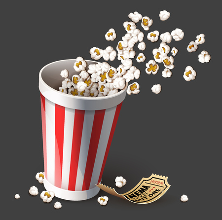 Popcorn in paper bucket. Full cup for snacks in movie theater fast food. Gold cinema ticket for film entertainment. Realistic, isolated on gray background. Eps10 vector illustration.