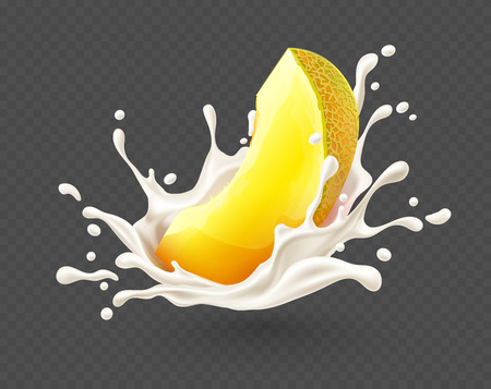 Yoghurt milk splash with ripe yellow melon cut piece fruit, isolated on transparent grid background, dairy drink with spray and drops. Eps10 vector illustration.
