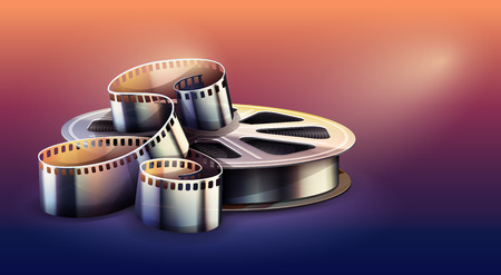 Film-strip for cinema motion picture production and movie theater entertainment. Eps10 vector illustration.