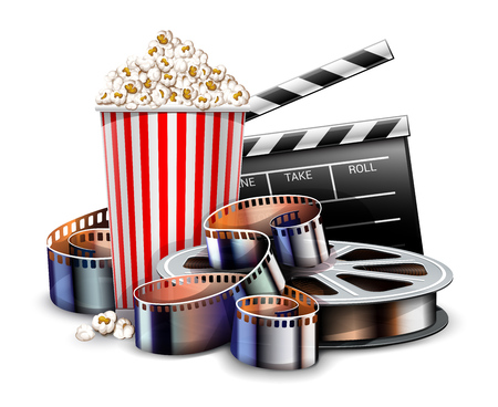 Online cinema art movie watching with popcorn, director clapper and reel film-strip cinematography concept. Realistic objects layout. Isolated on white transparent background. Eps10 vector illustration. Çizim