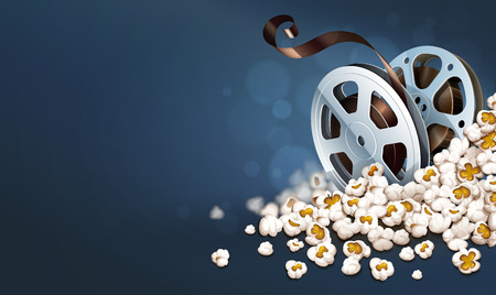 Cinematograpy film-reel discs in popcorn. Online movies retro banner template poster concept, copyspace. Clapper snacks movie theater. Fast food for cinematography entertainment. Vector illustration.