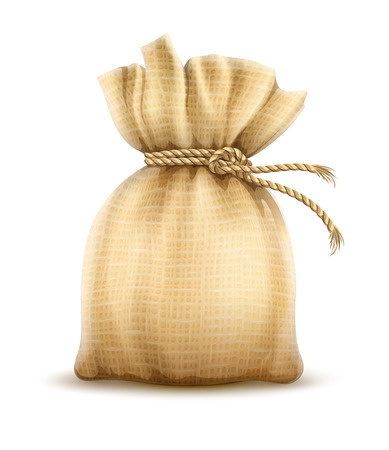 Full sack tied corded with rope knot. Textile tare for storage agricultural harvest, bulk cereals and foodstuff products, isolated on white transparent background. Gradient mesh used. Eps10 vector illustration.