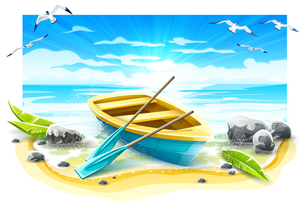 Fishing boat with paddles at coastline of sea on paradise tropical island. Evening Sunset breakers at beach with blue sky and seagulls birds, Isolated on white background. Eps10 vector illustration.