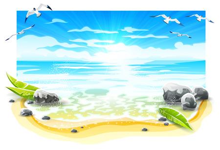 Wieczorny zachód słońca na piaszczystej plaży rajskiej wyspy z łamaczami morza i ptakami mewy w błękitne niebo. Fale i piana wody morskiej na wybrzeżu, izolowany na białym tle. Ilustracja wektorowa Eps10.
