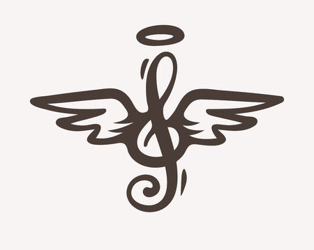 Treble clef with wings and nimbus. Idea for tattoo . Contour silhouette sketch.