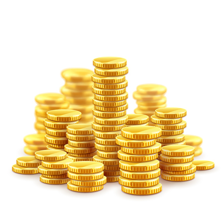 Gold coins cash money in piles, Isolated on white transparent background. Stock Illustratie