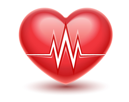 Red heart attack icon with heartbeat cardiogram graph line. Realistic medical vector illustration. Healthcare concept. Isolated on white transparent background. Stock Illustratie