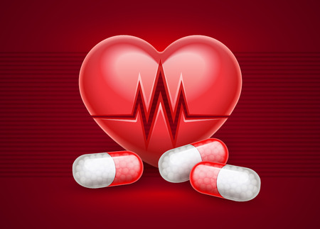 Red heart health treatment pills drugs. Heart attack icon with heartbeat cardiogram graph line. Realistic medical. Healthcare concept. Vector illustration.