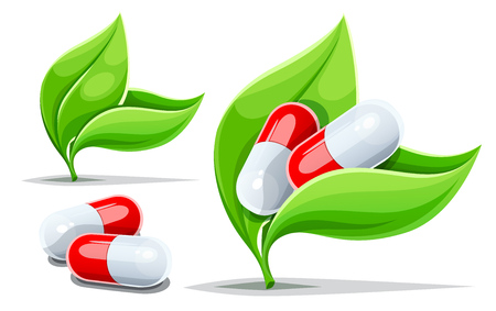 Drugs and herbs. Ayurvedic alternative medicine concepts set with green leaves and herbal pills, Isolated on white transparent backgound. Vector illustration. Stock Illustratie
