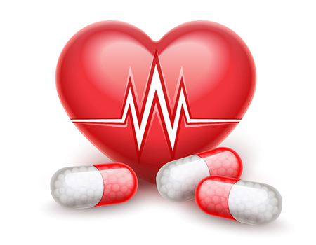 Red heart health treatment pills drugs. Heart attack icon with heartbeat cardiogram graph line. Realistic medical. Healthcare concept. Isolated on white transparent background. Vector illustration.
