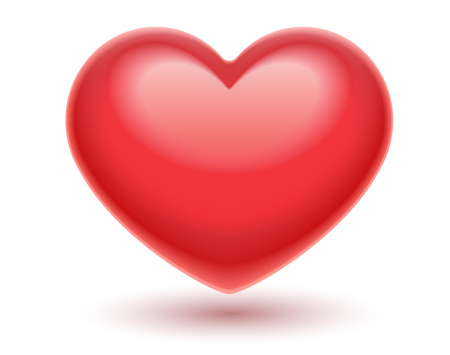 Red heart. Romantic symbol of love for Valentines day, Isolated on white transparent background. Stock Illustratie