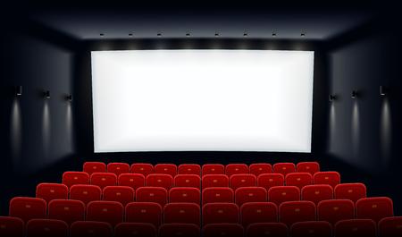 Cine vacío. Sala de cine con pantalla blanca y sillas rojas. Sala de cine moderna para festivales y presentación de películas. Diseño de interiores. Concepto de cine online. Ilustración de vector.