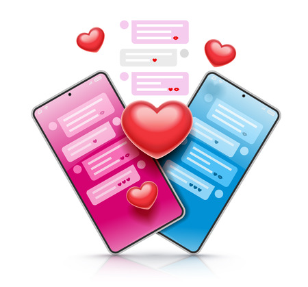 Virtual love. Couple chatting with text messages in the smartphones screens, virtual relationship chat concept. Romantic dating and communication using smarthone mobile app. Vector illustration.