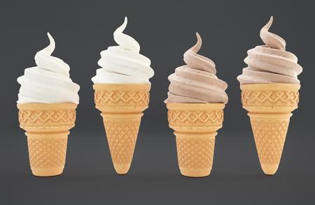 Ice cream in waffle cones with chocolate and vanilla flavors. Natural italian gelato ice-cream deserts with crispy cone.
