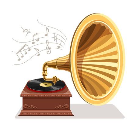Gramófono vintage con grabación de vinilo en disco. Vinilos de gramófono graba reproductor retro aislado sobre fondo blanco. Arte y concepto de música clásica. Ilustración vectorial.