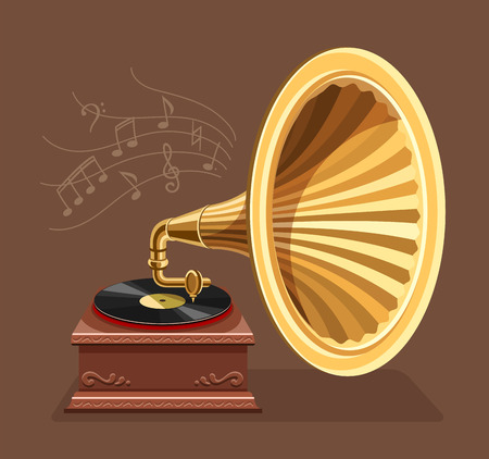 Vintage gramophone with vinyl recording on disc. Gramophone vinyls records retro player isolated on dark background. Art and classic music concept. Vector illustration.