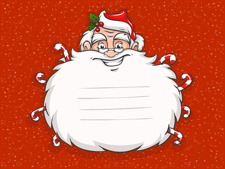 Cute Smiling Santa Claus head with beard and sweet candies. Copyspace place for Merry Christmas greeting card text. White snow on red background. Greeting sticker design template. Vector illustration Stock Illustratie