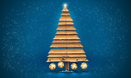 Christmas firtree for holiday made of old wooden board planks decorated with golden jingle bells. Idea design for Vintage retro hand-made decoration. Snowfall of white snow on blue Vector illustration. Stock Illustratie