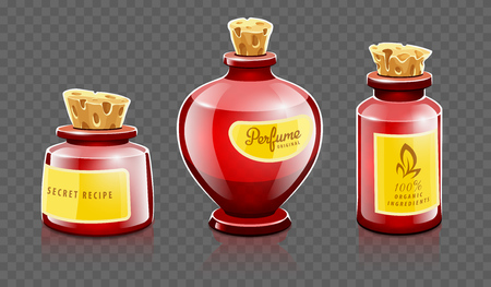 Cartoon bottles with natural organic cosmetic aroma liquids, perfume and beauty balsam with labels closed with corks. Isolated on transparent grid background.