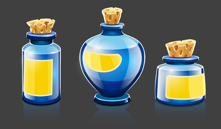 Cartoon bottles with natural organic cosmetic aroma liquids, perfume and beauty balsam with labels closed with corks. Isolated on gray background. Eps10 vector illustration.