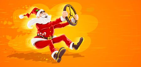 Christmas Santa Claus drives vehicle with wheel of virtual car. High-speed driving to holiday. Cartoon character in red suit with beard as symbol of christmas. Eps10 vector illustration. Illustration