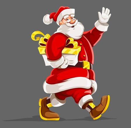 Christmas holiday. Santa Claus with christmas gift walking and waving hand. Isolated on gray background. Vector illustration.