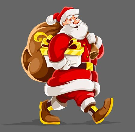 Christmas holiday. Santa Claus with full sack of christmas gifts walking and smiling. Isolated on gray background. Vector illustration. Illustration
