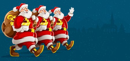 Christmas holiday. Santa Clauses in row group parade with full sacks of christmas gifts walking, waving and smiling. Isolated on gray background. Vector illustration.