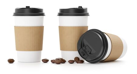 Mockup of paper cups. Takeaway Coffee to go with plastic caps and natural aroma coffee beans. Morning espresso or americano packaging template, isolated on white background. 3d rendered illustration.