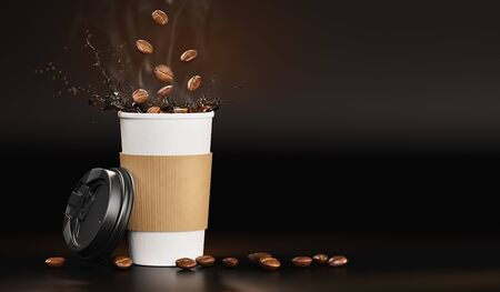 Hot takeway espresso morning coffee with splash in cardboard paper cup. Coffee to go fragrant drink splashes with falling down coffee beans on black background. Banner design. 3d rendered illustration