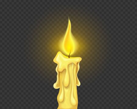 Burning candle fire, Isolated on dark grid background. Eps10 vector illustration.