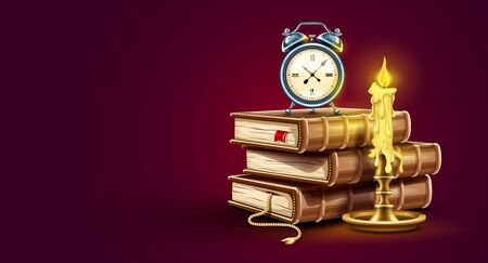 Classic Alarm clock. Stack pile of paper books. Candle with burning fire. Education time concept banner design icon. Time for study book with bookmark symbol. Vector illustration. Illustration