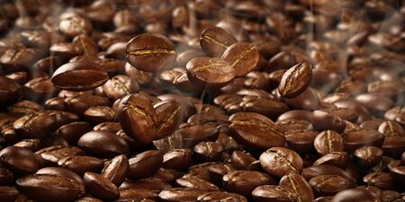 Roasted Coffee Beans in roast process. Fragrant coffee drink ingredient with hot smoke and falling down beans. Realistic 3d rendering close-up.