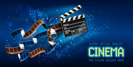 Cinema producers clapperboard for film making flying in Space with trails of stars and film-strip films. Super virtual reality online movie theater concept on blue background. Vector illustration.