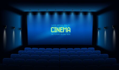 Empty movie theatre. Dark cinema hall with with blue screen. Modern movies theater for festivals and films presentation. Interior design. Online Cinema concept. Vector illustration. Illustration