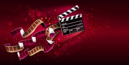 Cinema producers clapperboard for film making flying in Space with trails of stars and film-strip films. Super virtual reality online movie theater concept on red background. Vector illustration.