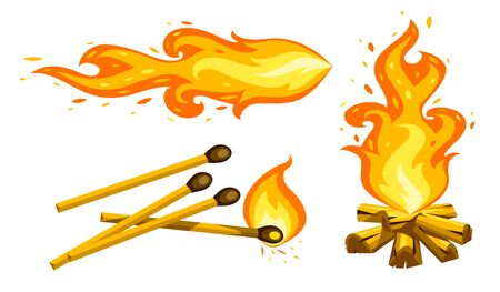 Set of Cartoon touristic campfire burning firewood, matches and jet torch. Hot flames with sparks from fire isolated on transparent white background. Summer camping flat symbol. Vector illustration.