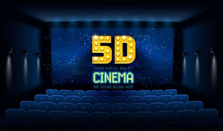 Empty movie theatre. Dark cinema hall with blue screen and 5d virtual reality. Modern movies theater for festivals and films presentation. Interior design. Online Cinema concept. Vector illustration.