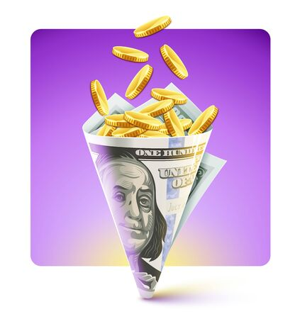 Twisted folded dollar paper bag origami made of currency banknote of one hundred american dollars filling with falling gold coins, isolated on violet background. Business concept. Vector illustration.
