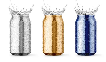 Wet metallic aluminium tin cans for beer, cola, juice energy drinks with drop and water splashes set of coloured packing for fresh drink mockup, Isolated on white background. 3d rendered illustration. Banque d'images