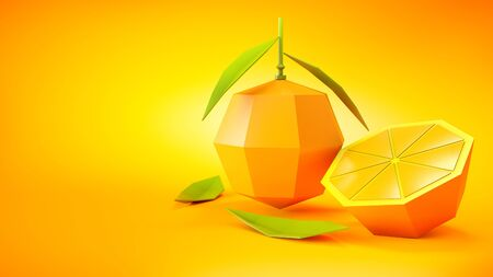 Juicy orange low poly fruit with section and green leaves made of colourful crafting paper. Stylized minimalistic 3d rendered illustration.