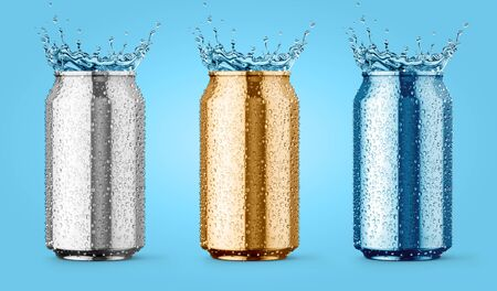 Wet metallic aluminium tin cans for beer, cola, juice energy drinks with drop and water splashes set of coloured packing for fresh drink mockup, on blue background. 3d rendered illustration. Banque d'images